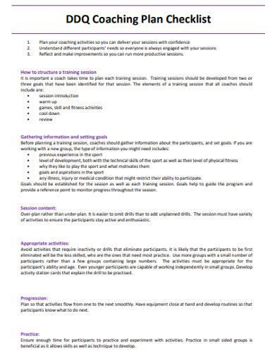 coaching session plan checklist