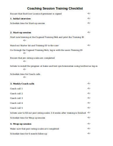 coaching session training checklist