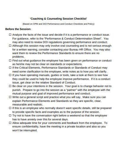 coaching and counselling session checklist