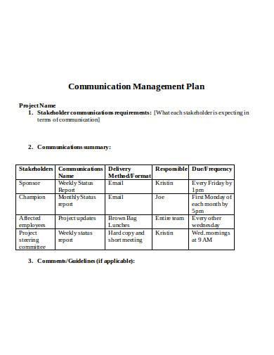 communication management plan in doc