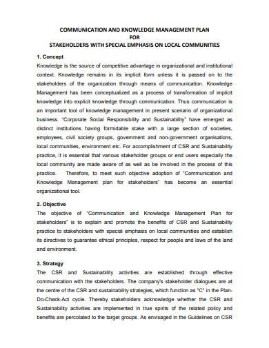 communication and knowledge management plan