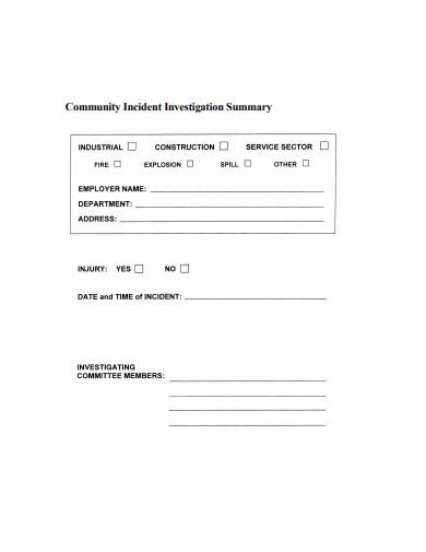 community incident investigation summary sample