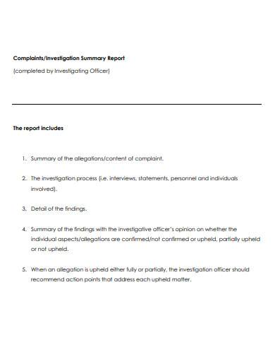 compliance investigation summary report template