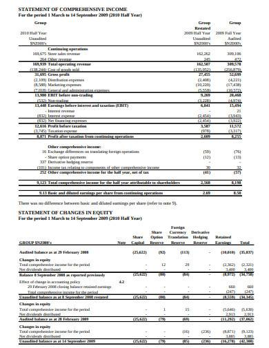 comprehensive income statement for half year sample