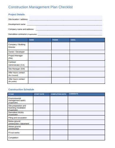 construction management plan checklist temlate