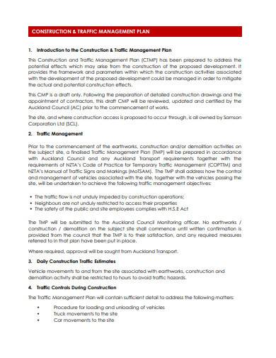 construction and traffic management plan