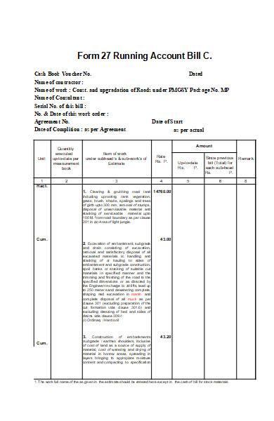 contractor bill form in excel