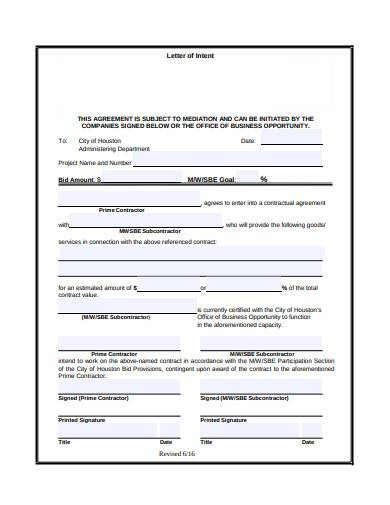 contractor letter of intent example