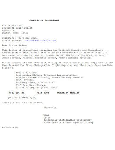 contractor letterhead