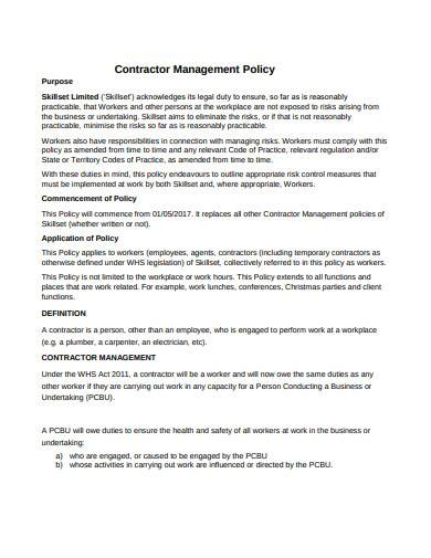 contractor management policy sample