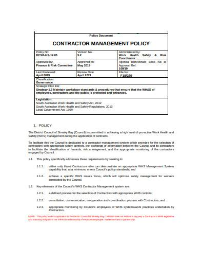 contractor management policy template