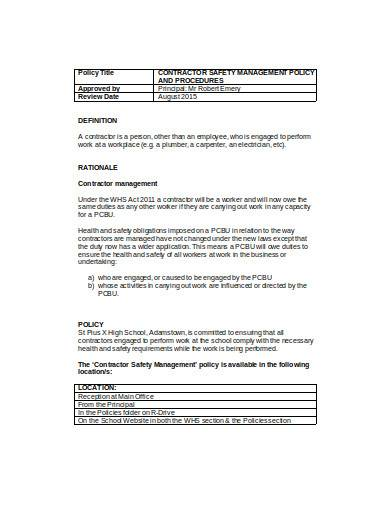 contractor management policy in doc