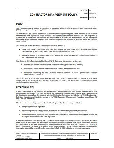 contractor management policy in pdf