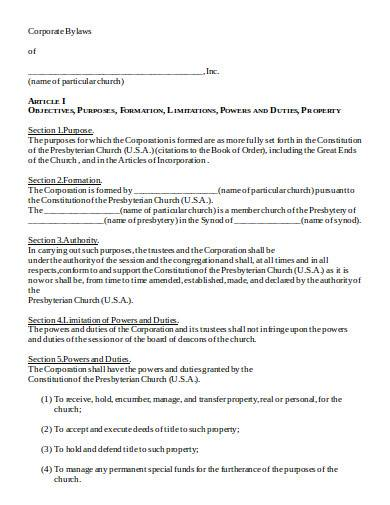 corporate bylaws in doc