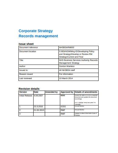 corporate strategy records management sample