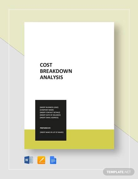cost breakdown analysis template