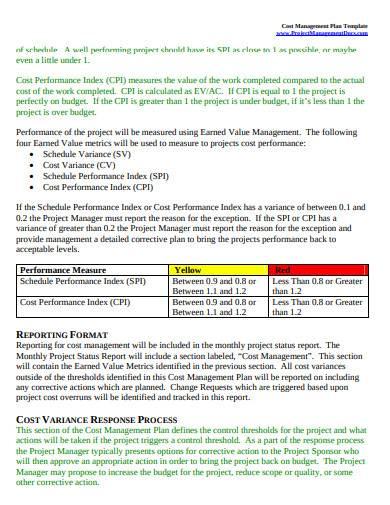 cost management plan sample