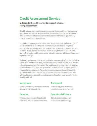 credit assessment service template