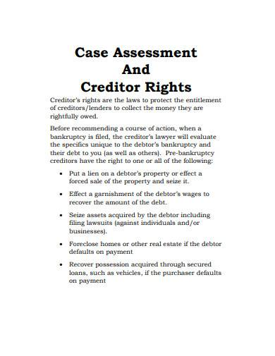 creditor assessment template