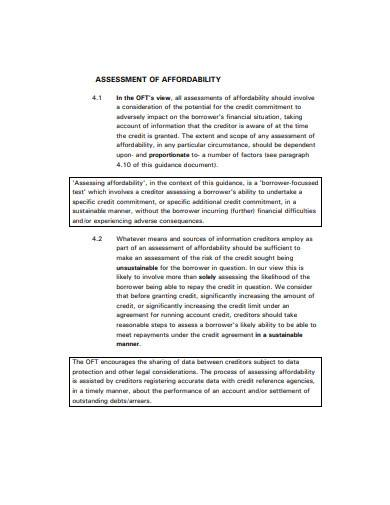 creditor assessment in pdf