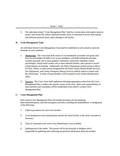 crisis management plan example