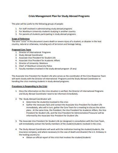 crisis management plan program