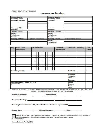 customs declaration form in doc