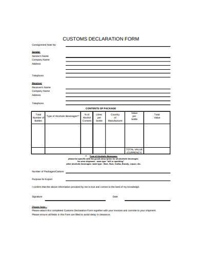 customs declaration form in pdf