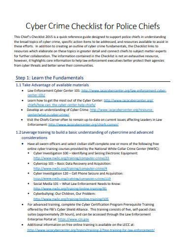 cyber crime checklist for police