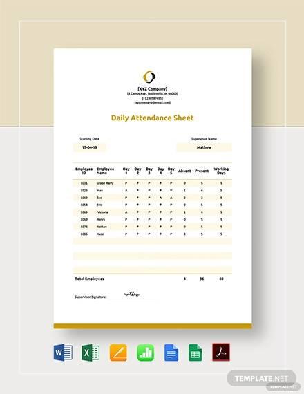 daily attendance sheet template