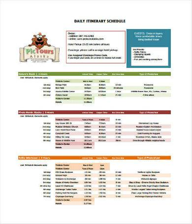 daily tour itinerary sample