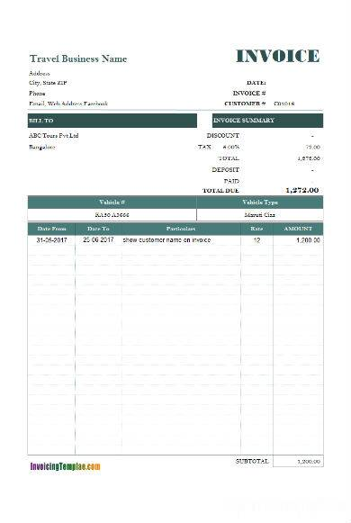 dark blue vehicle rental invoice sample