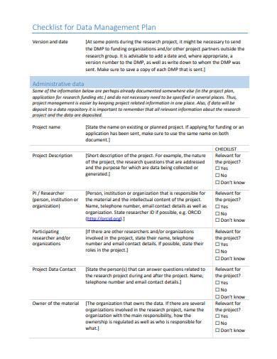 data management plan checklist sample