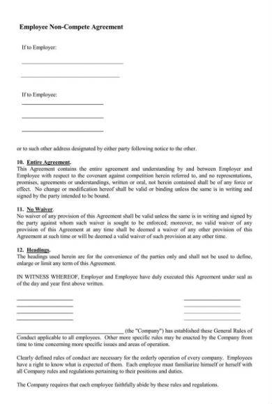 detailed employee non compete agreement sample