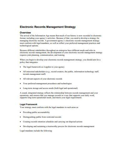 electronic records management strategy sample