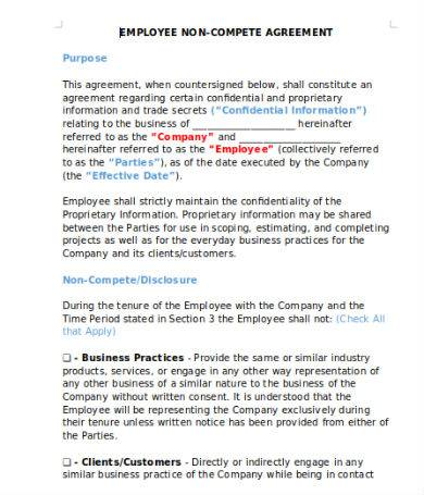 employee non compete agreement sample