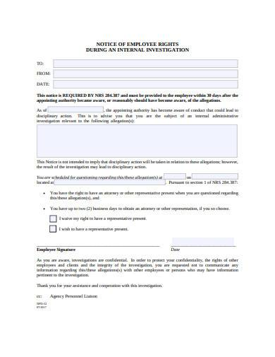 employee notice of investigation in pdf