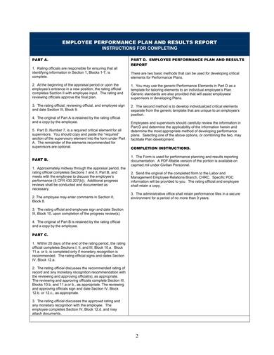 employee sample performance plan and results report