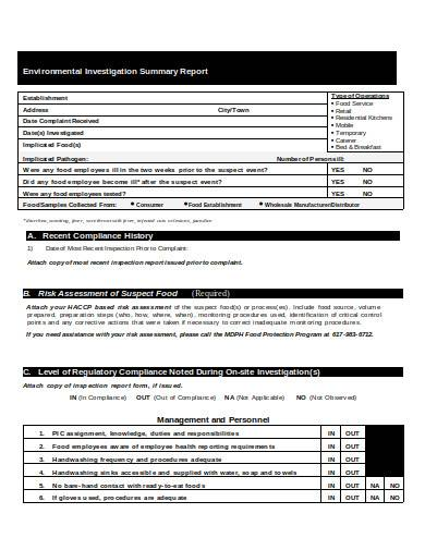 environmental investigation summary report
