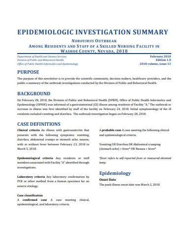 epidemiology investigation summary sample