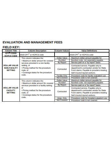 evaluation and management fees