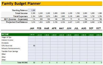 family budget analysis sample