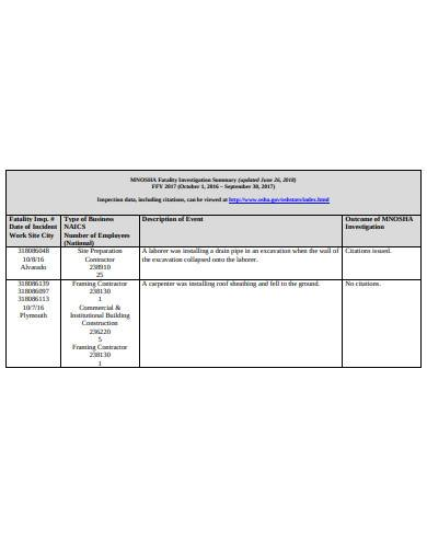 fatality investigation summary in pdf