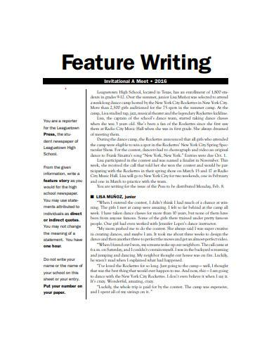 feature writing example