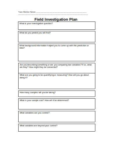 field investigation plan example