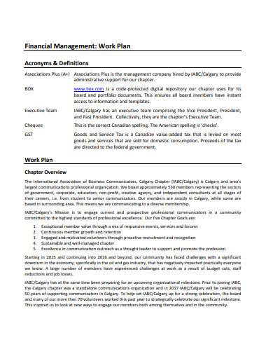 financial management work plan sample