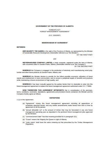 forest management agreement sample