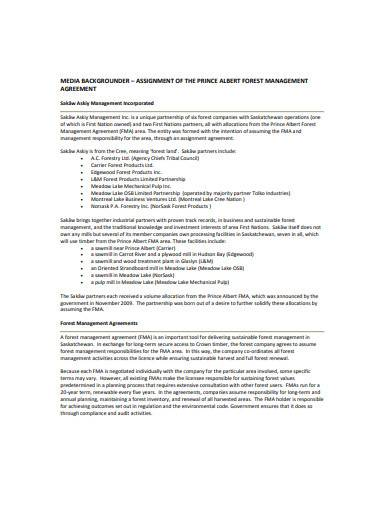 forest management agreement template