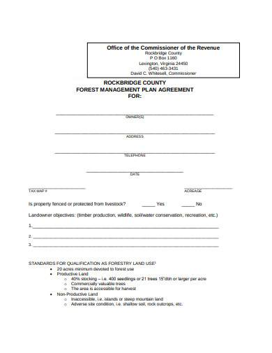 forest management plan agreement template