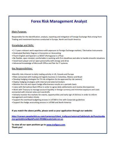 forex risk management analyst sample